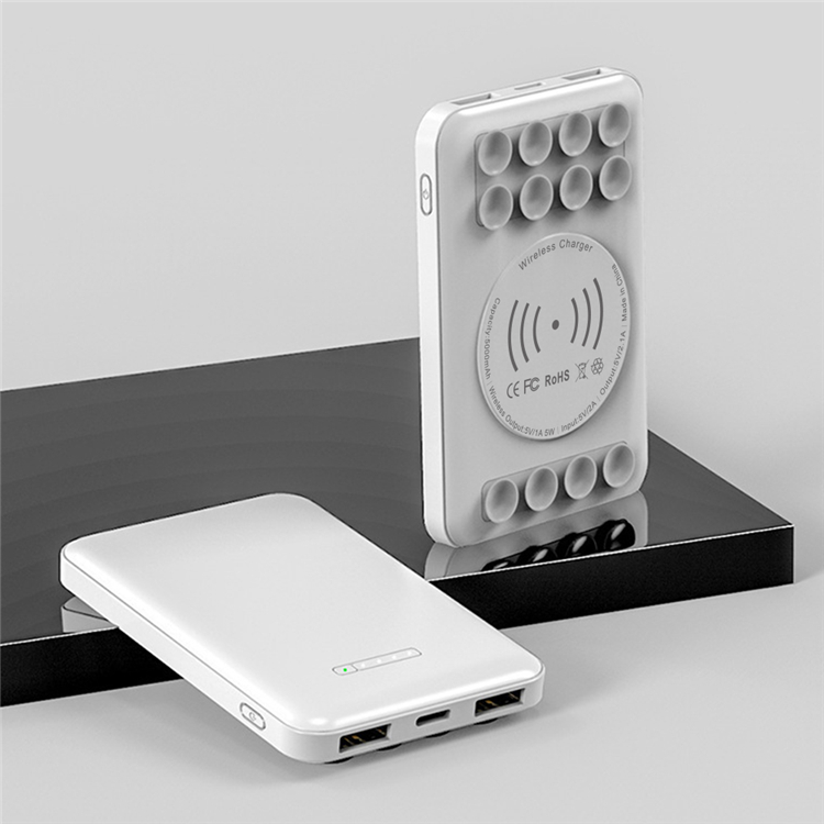Creative 5000mah Ultra-thin Wireless Charger Portable Power Bank With Suction Cup Design